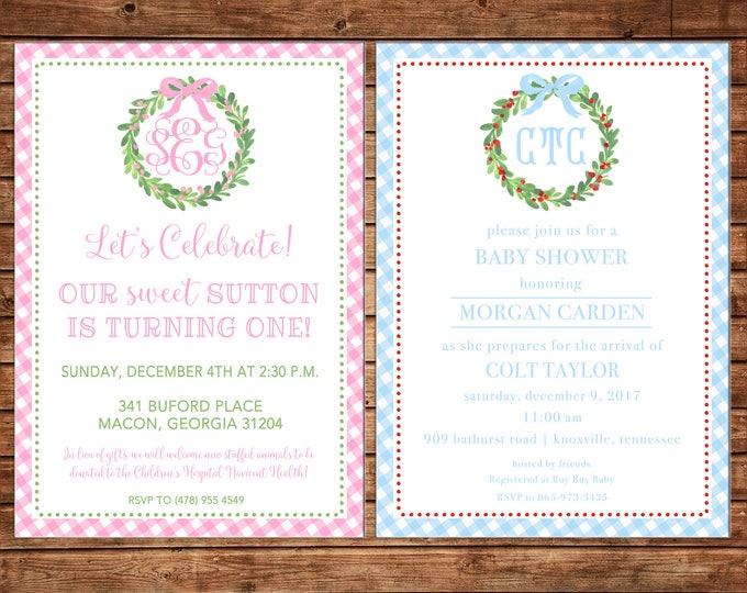 Holiday Christmas Gingham Watercolor Wreath Monogram Baby Shower Birthday Boy or Girl Invitation - DIGITAL FILE