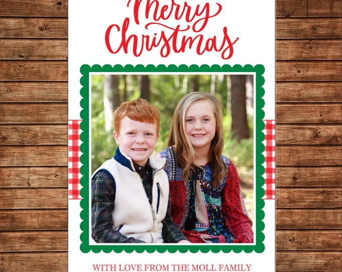 Christmas Holiday Photo Card watercolor gingham scallop  - Can Personalize - Printable File or Printed Cards