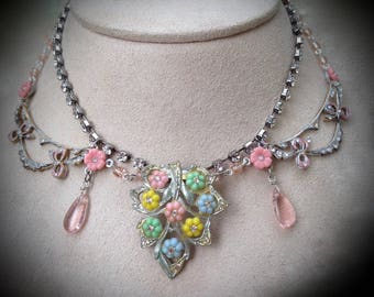 Astonishing Art Deco Mazer Pastel Floral Fantasy Rhinestone Necklace