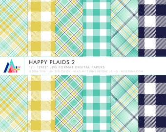 Happy Plaids 2 Digital Papers - 12 patterns for scrapbooking, cards, invitations, printables and more - instant download - CU OK