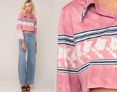 Pink Floral Blouse Button Up Shirt 70s Boho Crop Top Disco Top Hippie Long Sleeve 1970s Bohemian Vintage Retro Medium