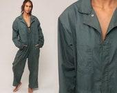 Coveralls Jumpsuit Pants Uniform Outfit 70s Grey One Piece Long Sleeve Onesie Vintage Pantsuit 1970s Extra Large xl