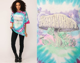 Tie Dye T Shirt SHROOMARAMA 90s Drug Shirt Magic Mushrooms Hippie Psychedelic Shrooms Festival Alien Tshirt 1991 Vintage Extra Large xl