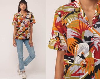 Tropical Shirt Short Sleeve Button Up Shirt 80s Top Vintage Hawaiian Blouse Palm Tree Print Surfer Hipster 1980s Red Yellow Medium