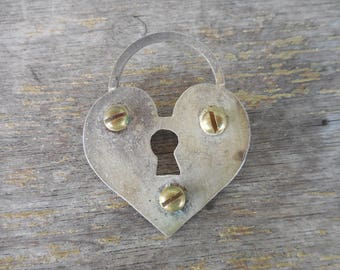 Signed Gallup 1995 Metal Padlock Heart Pin Brooch Industrial Modernist