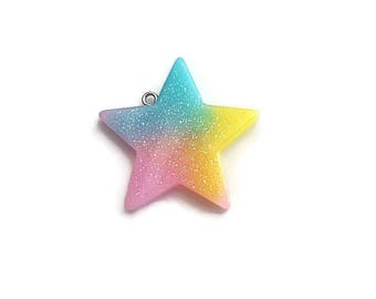 Glitter Star Resin Pendant Pink Yellow Blue/Teal  39mm x 37mm  (1)