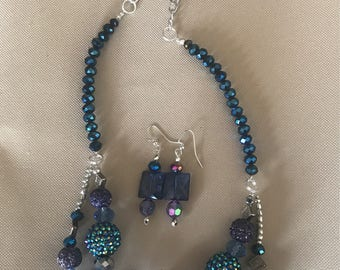 Blue Aurora Beaded Necklace Set