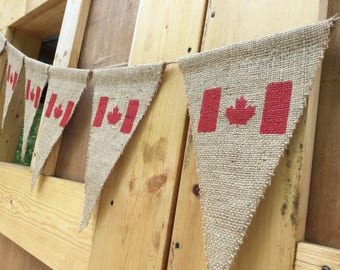 Canada Flag Banner - 10 Maple Leaf Flags -  Canada Party Banner - Indoor Banner - Outdoor Banner - Burlap Banner - Canada Flags