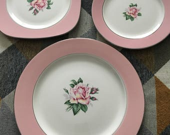 Vintage Homer Laughlin Pink Rose Lifetimr China place setting