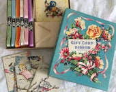 Vintage 1950s Gift Card and Ribbon Assortment Unused Boxed, 12 Retro Mini All-Occasion Cards with Envelopes, Gift Wrap Ephemera Collectible
