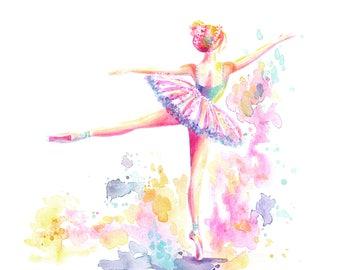 Ballerina Arabesque - PRINT, ballet, watercolor painting, spatter painting, girl art, nursery art, tutu art
