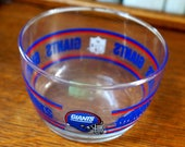 Vintage Cereal Bowl Glass Bowl New York Giants NFL Football Libbey Red Blue
