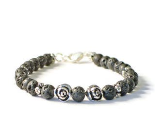 Aromatherapy Lava Stone Diffuser Bracelet, Antique Silver Flower Jewelry, Essential Oil Diffusing