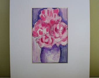 Peonies Painting Drawing Pink Floral Wall Decor Art Anniversary Gift