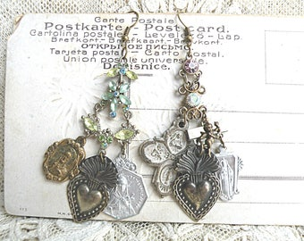 mismatched religious earrings assemblage ex voto sacred heart medal recycled jewelry catholic ooak