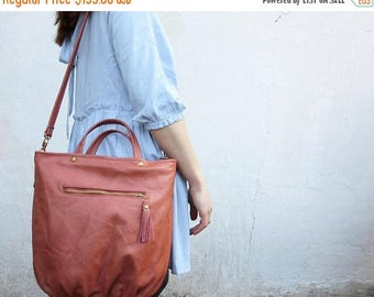 SALE tote womens rose gold leather totebag purse boho leather shoulder bag summer purse coral leather tote zip tote tropical tote mothers da