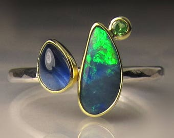 Opal Ring, Opal and Blue Sapphire Ring, Boulder Opal Ring, Australian Opal and Tsavorite Ring