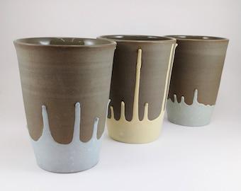 Large goblet, large ceramic mug. Grey with color dripping. Cute cafe au lait mug. Handmade mug. Yellow, light blue, turquoise.