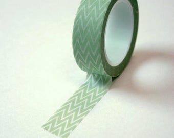 25% Off Summer Sale Washi Tape - 15mm - Light Green and White Chevron Pattern - Deco Paper Tape No. 124
