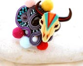 gypsy colorful cow skull cocktail ring - pom pom with silk thread large oversized ajustable ring - resin and crystal Swarovski unique ring