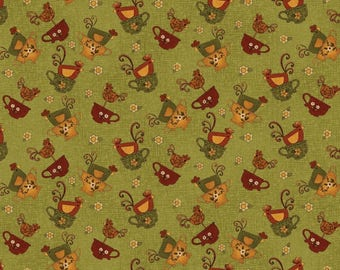 """NEW Chicks on the Run Craft 100% Cotton Quilt Fabric 44"""" wide X ONE Yard -Green Chicken in a Cup"""