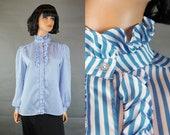 Tuxedo Blouse Sz M Vintage White Blue Striped Ruffled Secretary Shirt Victorian Free US Shipping