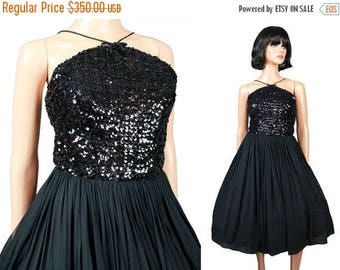 ON SALE 50s Prom Dress XS Vintage Sleeveless Short Black Sequin Silk Cocktail Party Gown Free Us Shipping