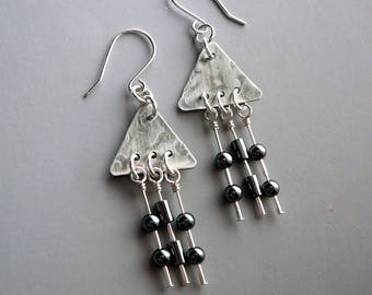 Silver Chandelier Earrings, Sterling Silver Drop Earrings, Triangle Earrings, Silver Gifts, Bohemian Fashion, Long Drop Earrings 925 Jewelry