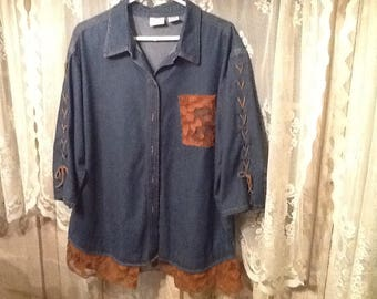 Altered, recycled, repurposed, blue denim tunic, lace, leather ties