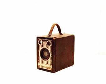 Vintage Camera, Brownie Junior Camera, Home Decor, Photography Prop, Silver and Black Camera