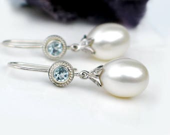 Large White Pearl Earrings | Freshwater Drop Pearl | Sky Blue Topaz Sterling Silver Dangles | Bridal Jewelry | Holiday Gift | Ready to ship
