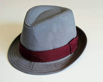 SALE Toddler, Boys Gray Fedora with Burgundy Band
