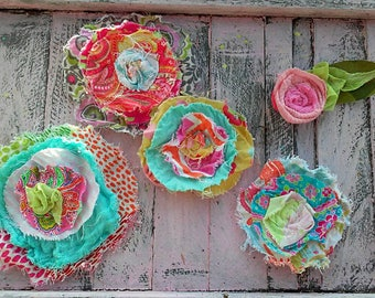 Custom Set Of FIVE BIG RUSTIC Funky Fabric Flowers Hand Sewn