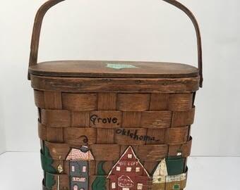 Vintage Hand Painted Basket Purse Oklahoma