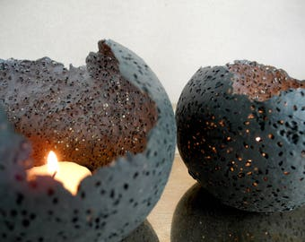 Set of 2 holders for votive candles in almost black - dark green porcelain - small decorative lights