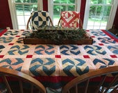 Beautiful Antique Red, White, Indigo Blue, Creams - Antique Americana Pinwheel Quilt - Beautiful Primitive Treasure from the Past - Cutter?