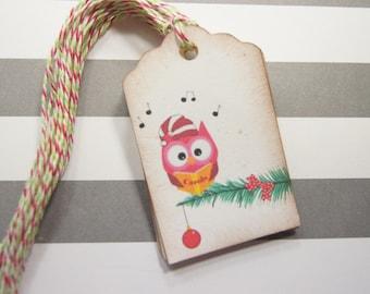 Tags Christmas Owl on Christmas Tree Gift Tag Christmas Gift Tag Set of 10 - T204
