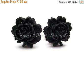 Vintage Style Black Rose Clip On Earrings