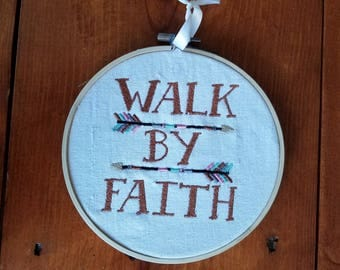 Walk By Faith Embroidered Wall Hanging Home Decor Handmade Gift