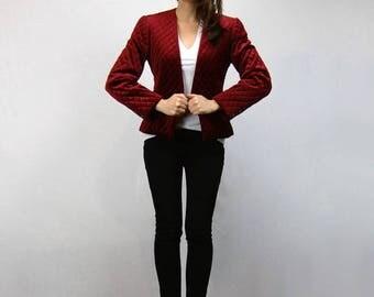 Burgundy Blazer Quilted Suit Jacket 80s Fall Jacket Fitted Smoking Jacket Womens Vintage Blazer - Medium M