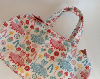 small handbag purse ballet bag. ballet bits, fairies, cakes and birds - on cream :)