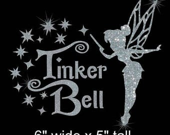 SALE Choice of Tinkerbell with wand iron on glitter Disney transfer DIY applique DIY patch