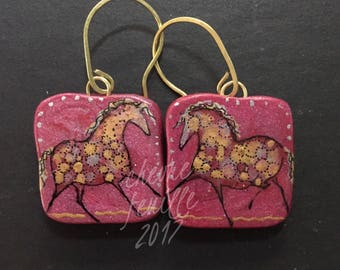 Horse Jewelry: The Gold on Red Horses Earrings. Original Ink Drawing on Polymer Clay. Red, Gold, Silver and Black  4345