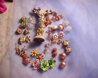 Lot Vintage 60s Rhinestone Earrings FAB Chandelier/Whiting & Davis Orient Men Crystals So MANY More Look