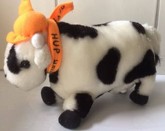 Vintage cute cow plushie - Hup Holland stuffed animal toy - Dutch Cow black white with orange shawl and hat softie doll