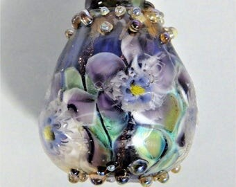Large Handmade Lampwork Murrini Floral Focal Bead -- SRA