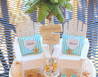 "BEACH BEVERAGE/WEDDING Sign Topper Base Attached Fits 6"" Cake Top Honeymoon Beverage/Rustic Beach Sign Custom Made To Order In Your Colors"