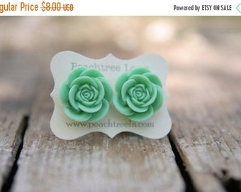 CHRISTMAS in JULY SALE Large Mint Green Rose Flower Earrings << Bridesmaid Earrings << Wedding Party Gifts