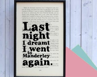 SUMMER SALE Rebecca - Daphne du Maurier - Manderley Quote - Book Lover Gift - Literary Wall Art - Love Quote Print - Framed Book Page - Insp