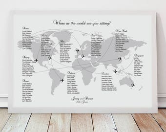 come fly with me wedding seating chart - printable file - airplane world map wedding table plan